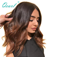 Qearl Ombre 1B/30 Brazilian Remy Real Human Hair Lace Front Wigs for Women With Baby Hair Middle Part Pre Plucked Hairline 130%