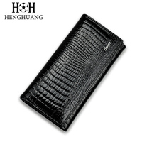 HH Alligator Womens Clutch Wallets Luxury Patent Crocodile Multifunctional Genuine Leather Ladies Clutch Purse Hasp Long