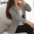 Mulheres ternos blazer Xadrez 2017 primavera/outono feminino outerwear mujer marca blazer ocasional casaco de Manga Longa Casaco Fino