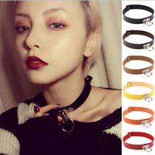 2017 Vintage Bijoux Women Men Jewelry Cool Punk Goth Rivet Choker Necklace Leather Collares Round Metal Pendant Anime Necklaces(China)