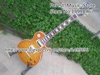 최고 품질의 중국 LP 표준 전기 기타 아름다운 퀼트 기타 바디 흰색 바인딩 왼손잡이