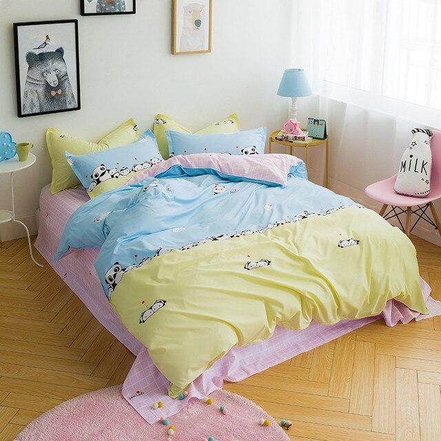 Cartoon 3D Blue Plus Yellow Panda Print Pattern Home Bedding Bedding Set  Queen / Extra Large
