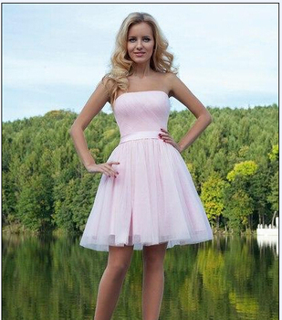 Sweetheart Pink Sexy Off the Shoulder Pleat Tulle Cocktail Dresses  Sashes Prom Party Pageant Ball Gown Homecoming  Dress 2015