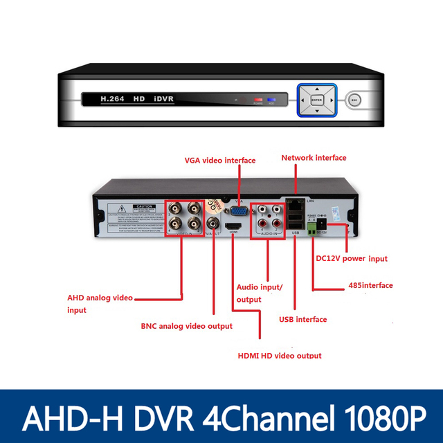 YUNSYE AHD-H DVR 4 Canais CCTV AHD DVR AHD-M DVR Híbrido/1080 P 4em1 Gravador de Vídeo NVR Para Câmera IP Câmera Analógica AHD câmera