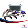 PQY RACING- UNIVERSAL 19 ROW AN10 ENGINE TRANSMISS OIL COOLER KIT +FILTER RELOCATION BLUE PQY7019S+6724BR
