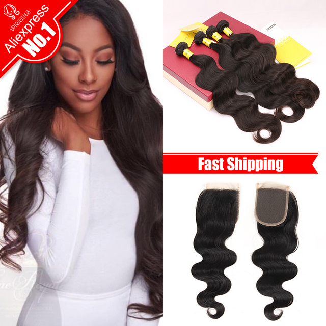 Wiggins Hair Brazilian Body Wave With Closure Brazilian Hair 3 4