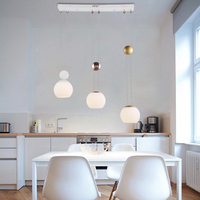 Modern Lifting Up And Down led Pendant Lamp Dining Room Study Glass Ball Pendant Light Single Head led Telescopic Hanging Lamps