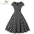 Sishion new polka dot dress s-4xl plus size mulheres vestidos de verão pin up balanço do vintage da luva do tampão preto 50 s 60 s retro dress 0414
