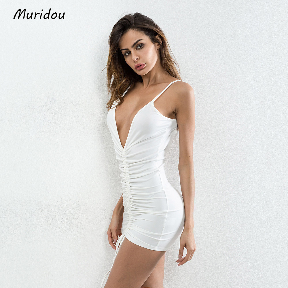 Muridou 2018 Sexy sleeveless V neck dress Party Dresses Summer Dress  Spaghetto Strap Vesitdos Backless  Women mini Dress 2017  2
