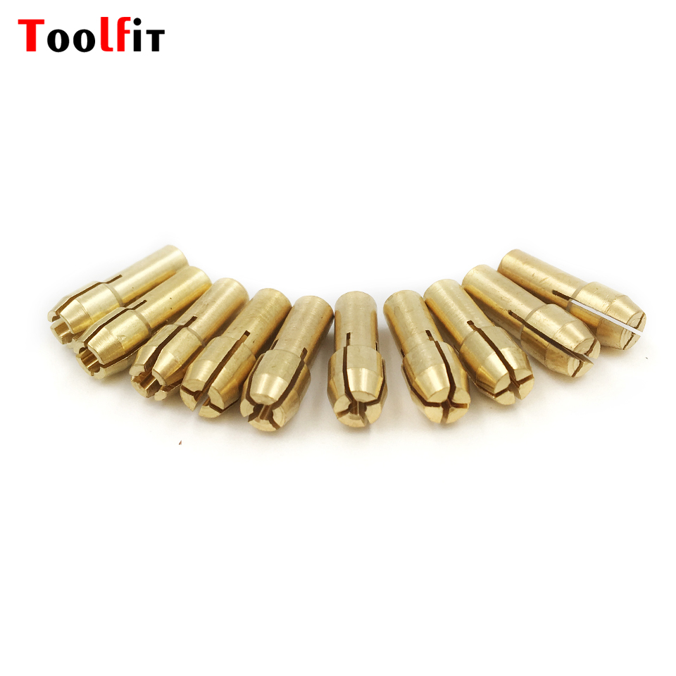 Toolfit 10Pcs Mini Brass Drill Chucks Collet Bits 0.5-3.2mm Rotary Tool Electric Micro Drill Collets Clamp Tool Accessories