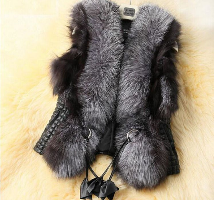 New Arrival !!!2018 Short Design Female Fox Fur Vest   Leather   Vest Outerwear Plus Size Fur Vest Women Coats Faux Fur Jackets