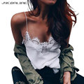 JYConline Sexy Tank Tops Women Sleeveless Lace Patchwork Shirts V Neck Strap Camis Women Tank Top Lace Bralette Party Streetwear