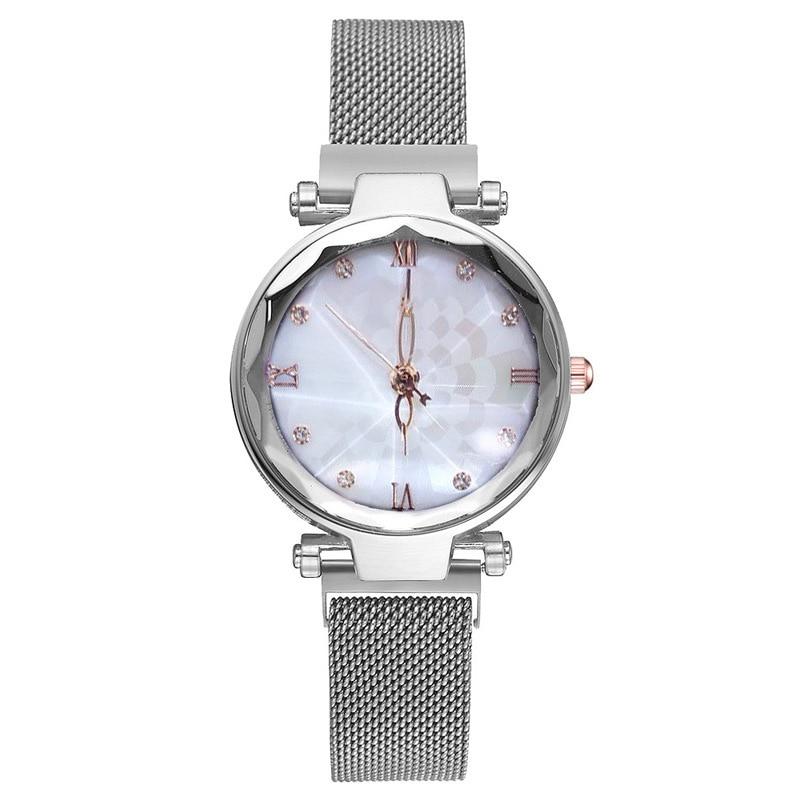2019 Silver Elegant Ladies Quartz Wristwatches Women Fashion Luxury Diamond Watches Magnetic Mesh Strap Roma Number Female Watch