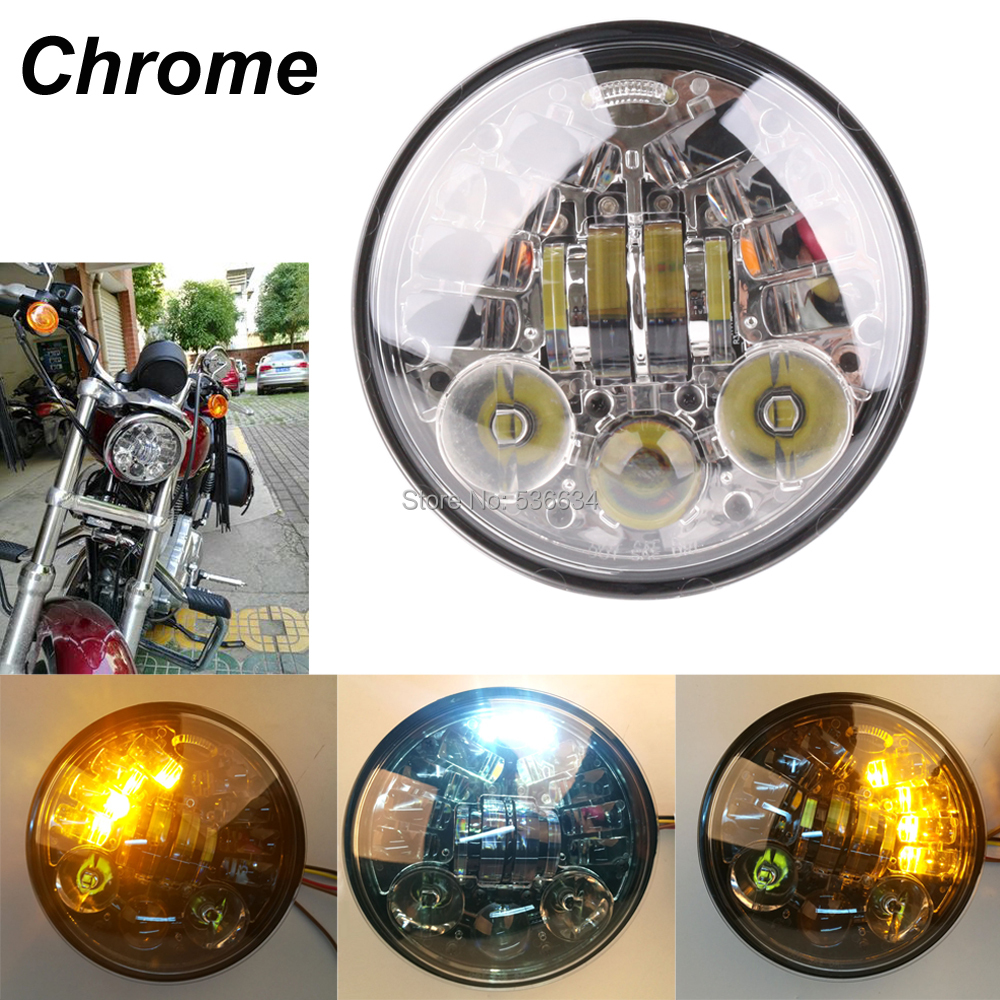 5.75 LED Projector Daymaker Motorcycle Headlight with Amber Ring DRL Light Hi/Low for Harley Night Road Iron 883 Street 750