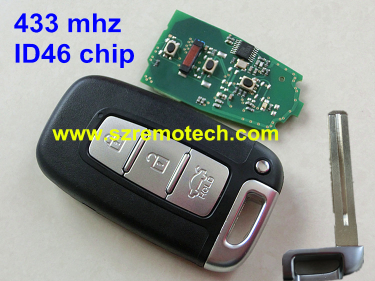 Smart Remote Key keyless entry Fob 3 Button ID46 Chip 433Mhz Fit Hyundai IX35 - Rem-o-tech Store store