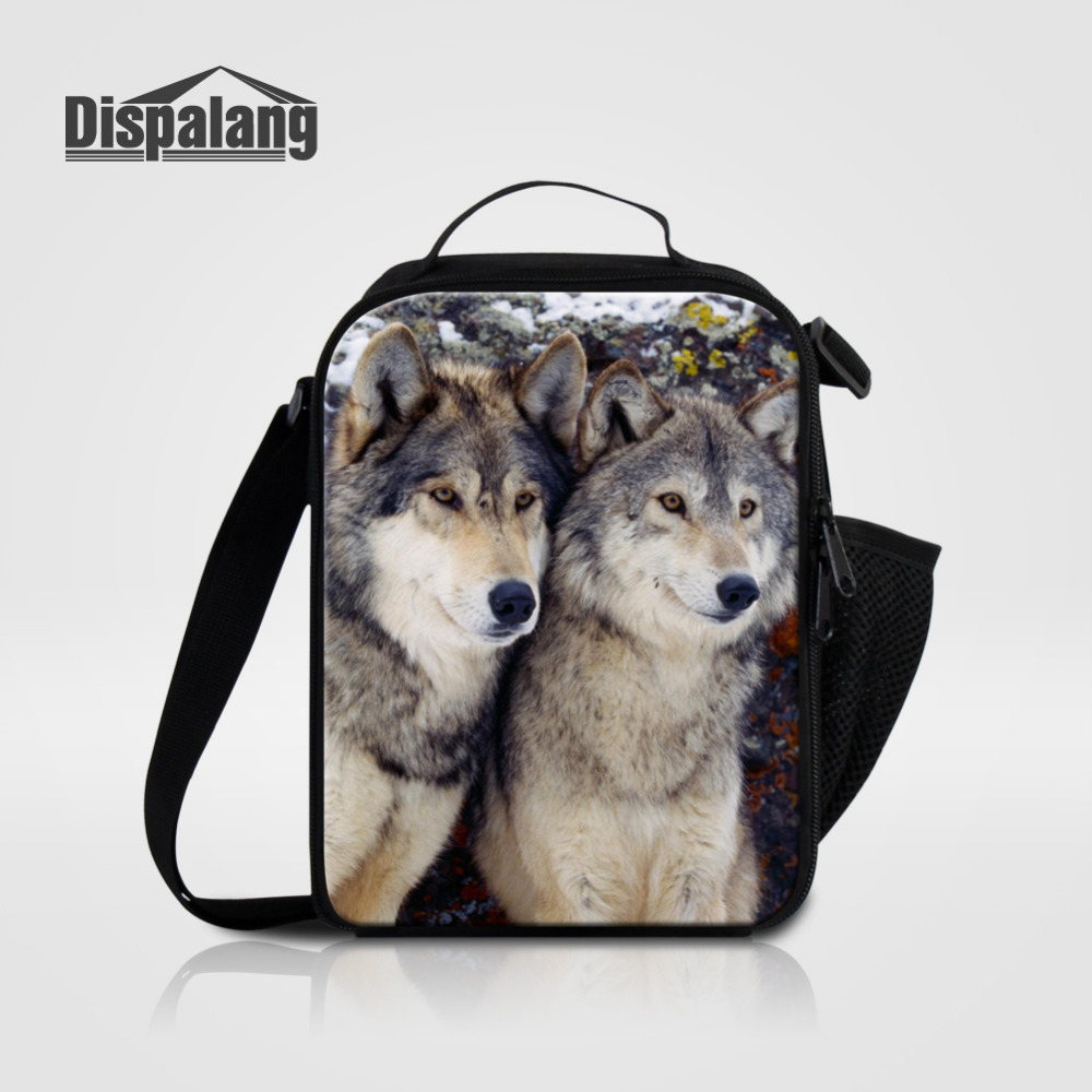 Dispalang Wolf Animal Printed Children Lunch Cooler Bags For Boys Kids Portable Lunch Box Tote Thermal Crossbody Food Bags