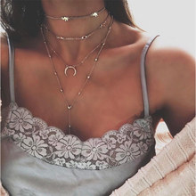 BK Fashion Simple Women Multilayer Necklace Sexy with Elephant Moon Pendants Vintage Jewelry Summer Long Clavicle