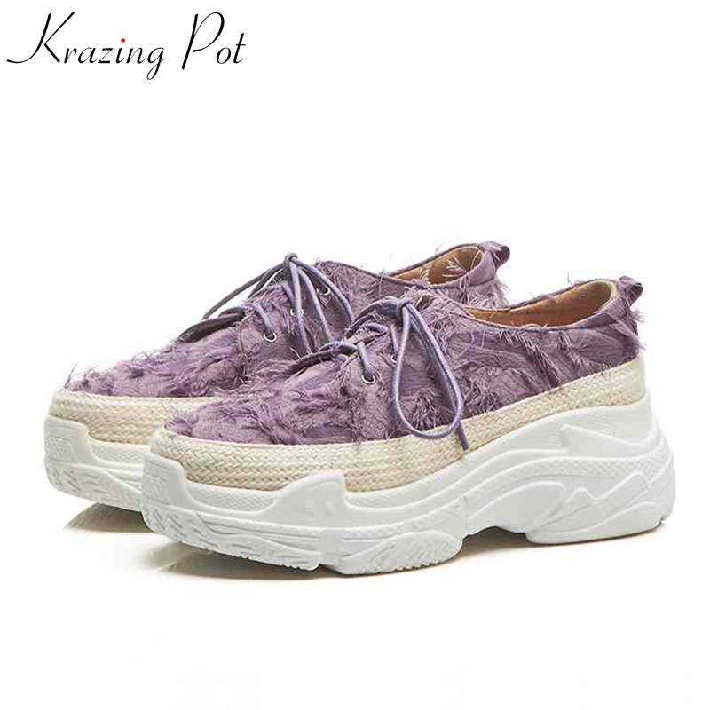 Krazing Pot handmade tassel fringe round toe sneaker classical causal lace up women thick bottom leisure vulcanized shoes L12