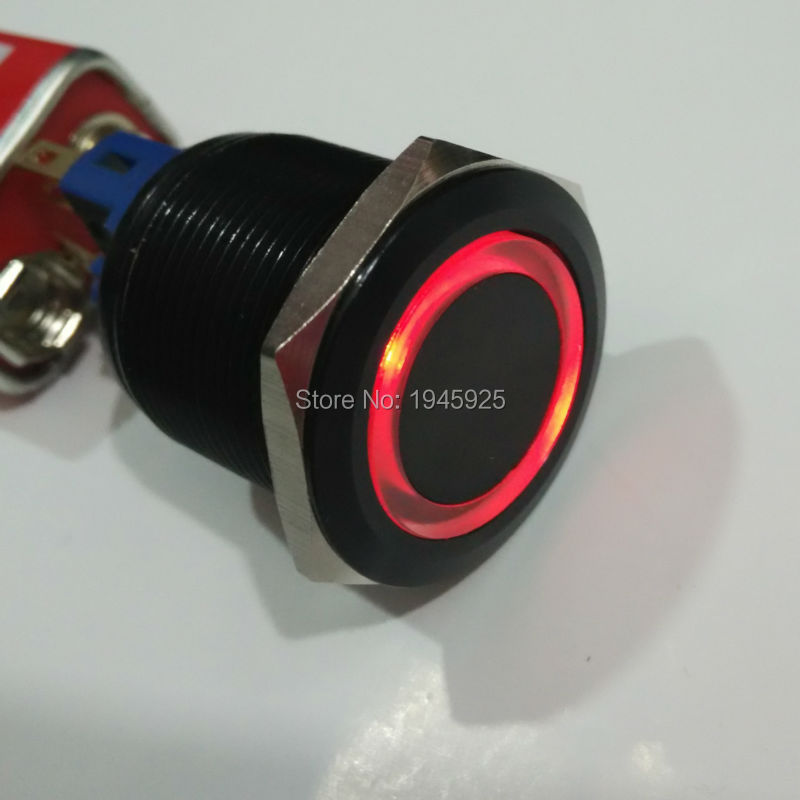 22mm black aluminuim self locking anti vandal metal switch with red 12V ring led generator controller gtr 168