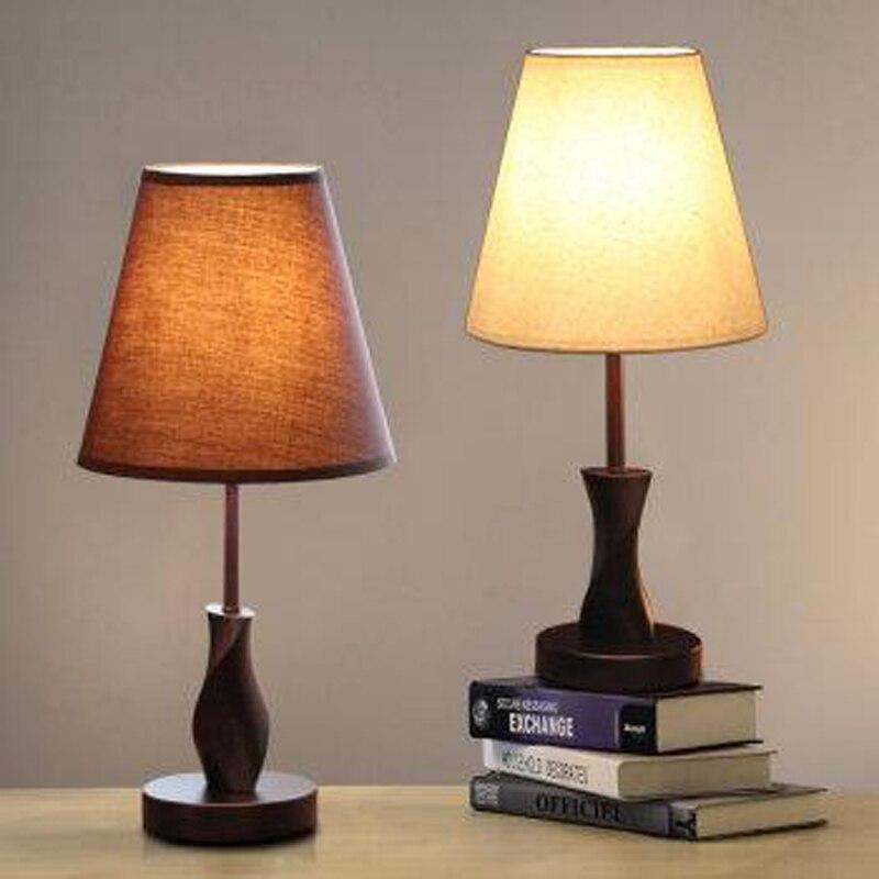 Современный минималистский моды деревянный спальня тумбочка прикроватная лампа теплые гостиная лампы освещения ткань ZH fg777 lu1024