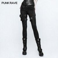 Панк rave Новый Для женщин tight black rock heavey металла пикантные панк тощий Жан Штаны K295