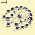 XUTAAYI 925 Conjuntos de Jóias de Prata Azul Safira Sintética Perfeito Colar/Anéis/Brincos/Pulseira Para as mulheres Dom Gratuito