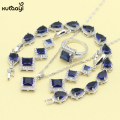XUTAAYI 925 Silver Jewelry Sets Blue Synthetic Sapphire Perfect Necklace/Rings/Earrings/Bracelet For women Free Gift