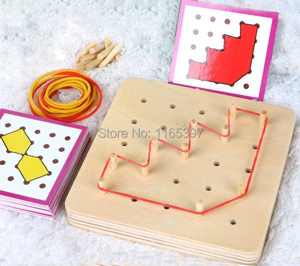 Freeship 1 Set children Wooden toys Montessori shape match building material Educational toy kids skills sensorial development