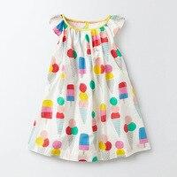 Little maven/милые топы и футболки с рисунком мороженого для маленьких девочек от 1 до 6 лет хлопковое летнее платье в европейском и американском с...