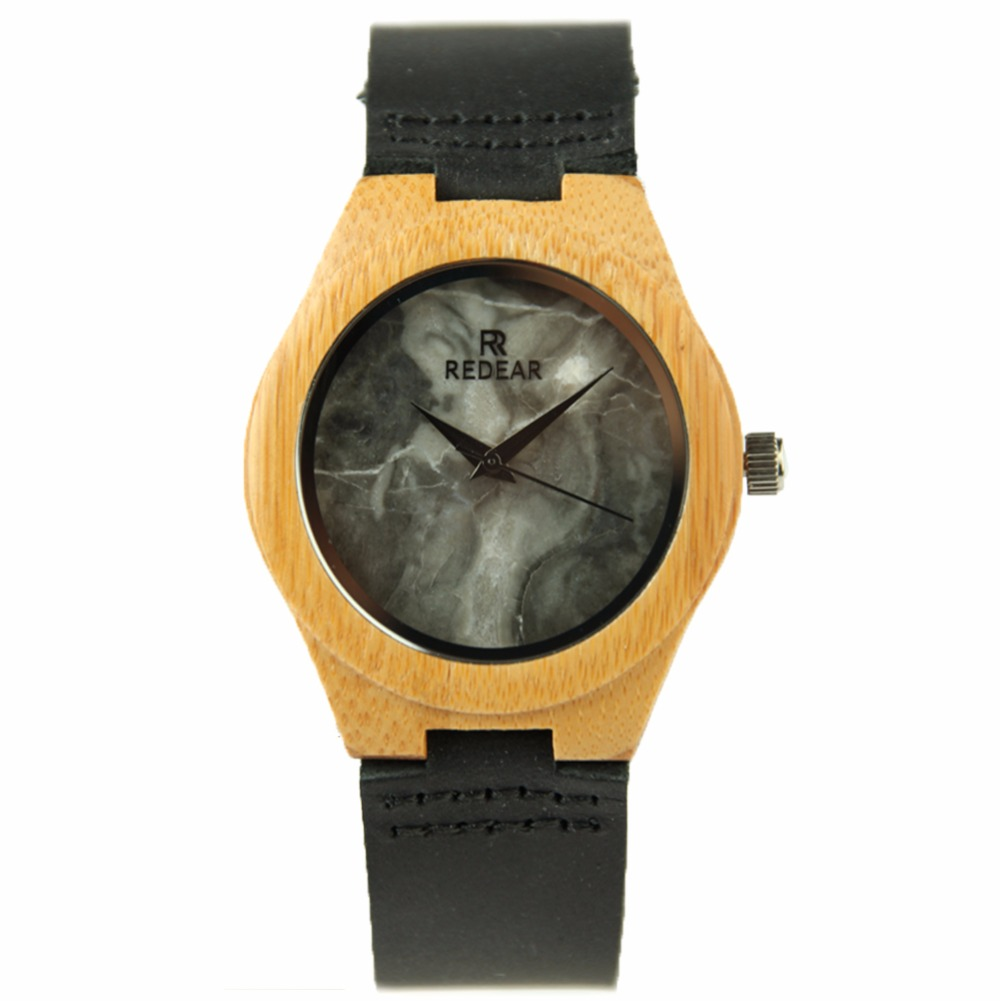 ФОТО REDEAR Bamboo Wood Watch Clock Top Brand Luxury Stone Surface Mens Watch Black Leather Band Relogio Masculino