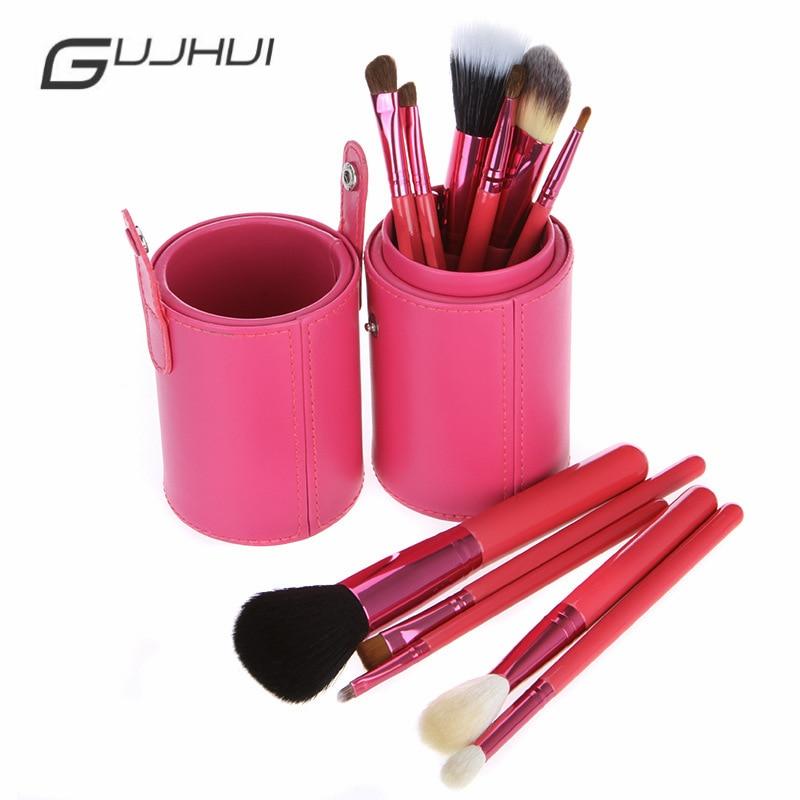 GUJHUI 12Pcs/lot Makeup Brush Kit Makeup Tools Set Brand Makeup Brush Professional Cosmetic Make Up Brush Set With Leather Bag