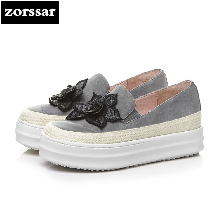 {Zorssar} 2018 Fashion flowers suede women flat shoes casual sneakers shoes Female Creepers shoes Slip on flats platform Loafers summer sneakers fashion shoes woman flats casual mesh flat shoes designer female loafers shoes for women zapatillas mujer