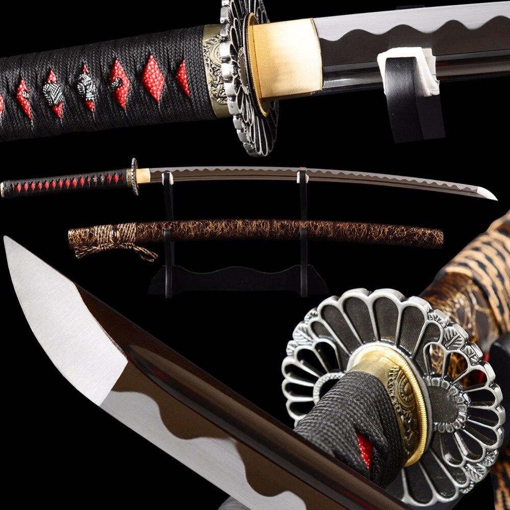 SHI JIAN vágóéles éles japán szamuráj Katana kard Teljes Tang - Lakberendezés