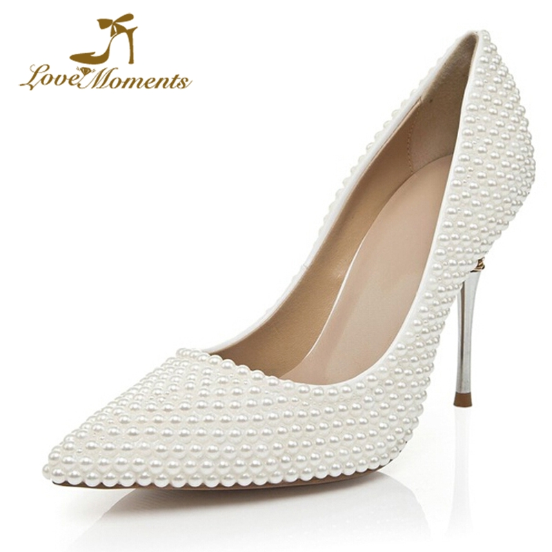 Fashion White Pearl High Heel Wedding Shoes T-Straps Pointed Toe Lady Dancing Shoes Thin Heel Rhinestone Birthday Party Pumps custom made sandals open toe sandalias women shoes wedding party pumps thin high stilettos pu cover heel t straps shoes