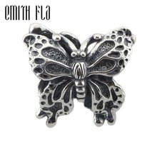 Genuine 925 Sterling Silver Butterfly Beads Fit Original Brand Bracelet Jewelry Vintage Animal Beads for Jewelry Making Beads