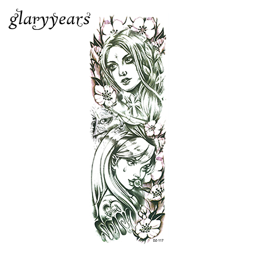 Low Cost 1 Piece Temporary Full Flower Arm Tattoo Sticker Beauty
