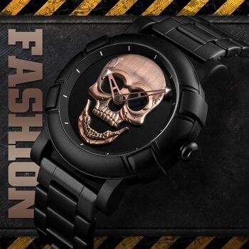 SKMEI Skeleton Skull Men Watch Luxury Brand Quartz Waterproof Stainless Steel Male Sports Watches Relogio Masculino