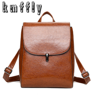 BANINIU Vintage Oil Wax PU Leather Trave Backpack School Bags For Teenagers Casual Brown Backpack Women