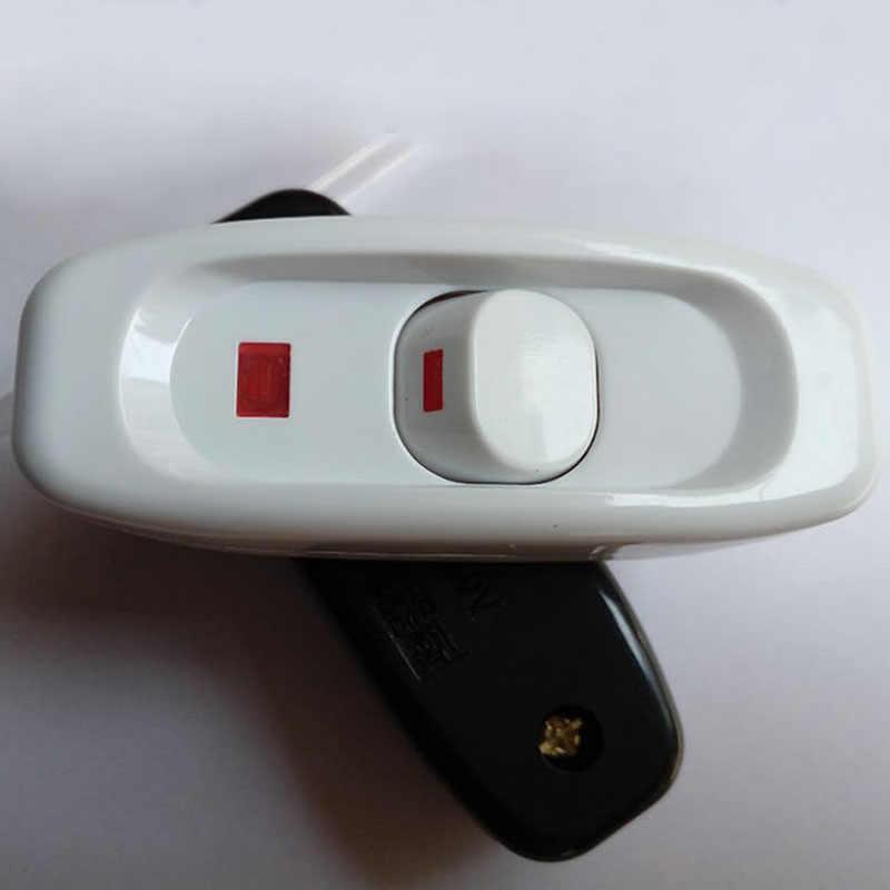 2 piezas interruptor de lámpara de cabecera Botón de empuje de mano línea media Mini interruptor de ventilador pequeño conexión de cable negro blanco