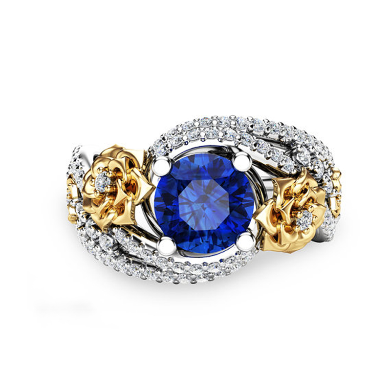 Gold Rose & Sapphire Blue Ring 1