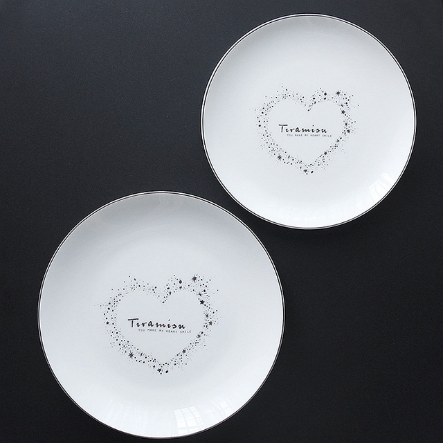 Set of 2 Ceramic Dinner Plate Valentine Love Dinner Dishes Pasta Steak Dessert Plates Fine Bone & Set of 2 Ceramic Dinner Plate Valentine Love Dinner Dishes Pasta ...