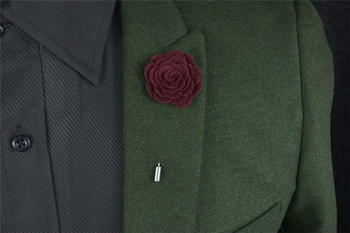 Handcrafted felt rose brooch//lapel pin in dark green Other colours available