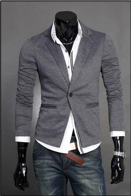 Men's Slim Fit Knitted Blazer Single Breasted slim fit Jacket Blazer Short Coat one Button suit 3 color DF38