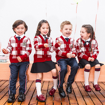 New Spring Children England Primary School Uniforms Girls Boy Cotton Plaid Knit Sweater Cardigan Skirt performance Costume Suits 2pcs lot spring autumn baby little girls knitted ruffle skirt suits children kids girl jersey skirt sweater bow tie frillies