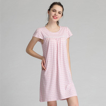 174e09ba22fc1 Summer One-piece Built In Bra Padded Sleepwear Women Short Sleeve Floral  Nightdress Modal Nightgown Woman Casual Home Dresses