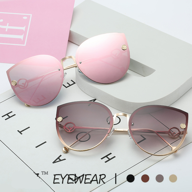 New Luxury Italy Brand Designer Lady Cat Eye Sunglasses Women Vintage Rimless Gradient Sun Glasses For Female UV400 image