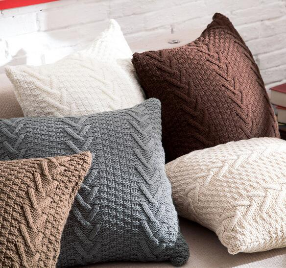 45*45CM greywhitebegiebrown crossed stitch knitted cushion case wool pillowcase decorative pillow cover almofada case