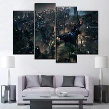 Boy Room Wall Decor One Set Modular Picture Canvas Print 4 Piece Night City Landscape The Knight Batman Painting Modern Artwork