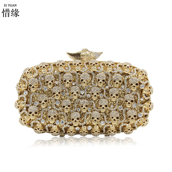 gold crystal diamond metal Skull evening bag Halloween day cluthes for Ghost Festival gifts for girlfriendgold crystal diamond metal Skull evening bag Halloween day cluthes for Ghost Festival gifts for girlfriend