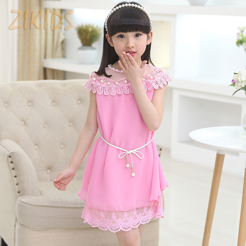 Girl Dress Kids Summer Style Clothes Chiffon Casual Girls Clothing Pearls Lace Collar with Girdle Belt Children Brand 2016